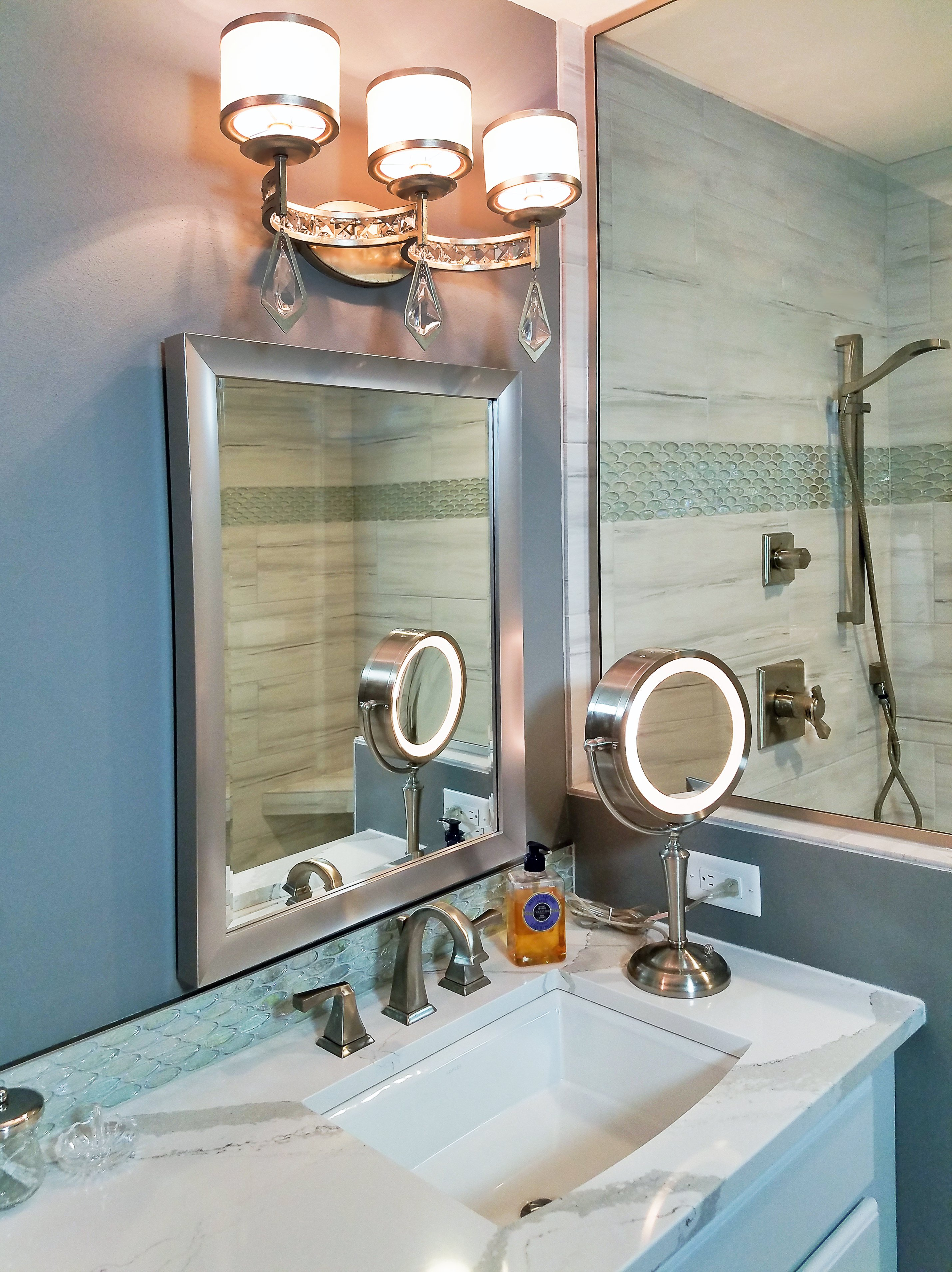 Bathroom Design, three light vanity lighting, white kohler sink, Delta 3551LF-SS vanity faucet, cambria britannica coutnertop