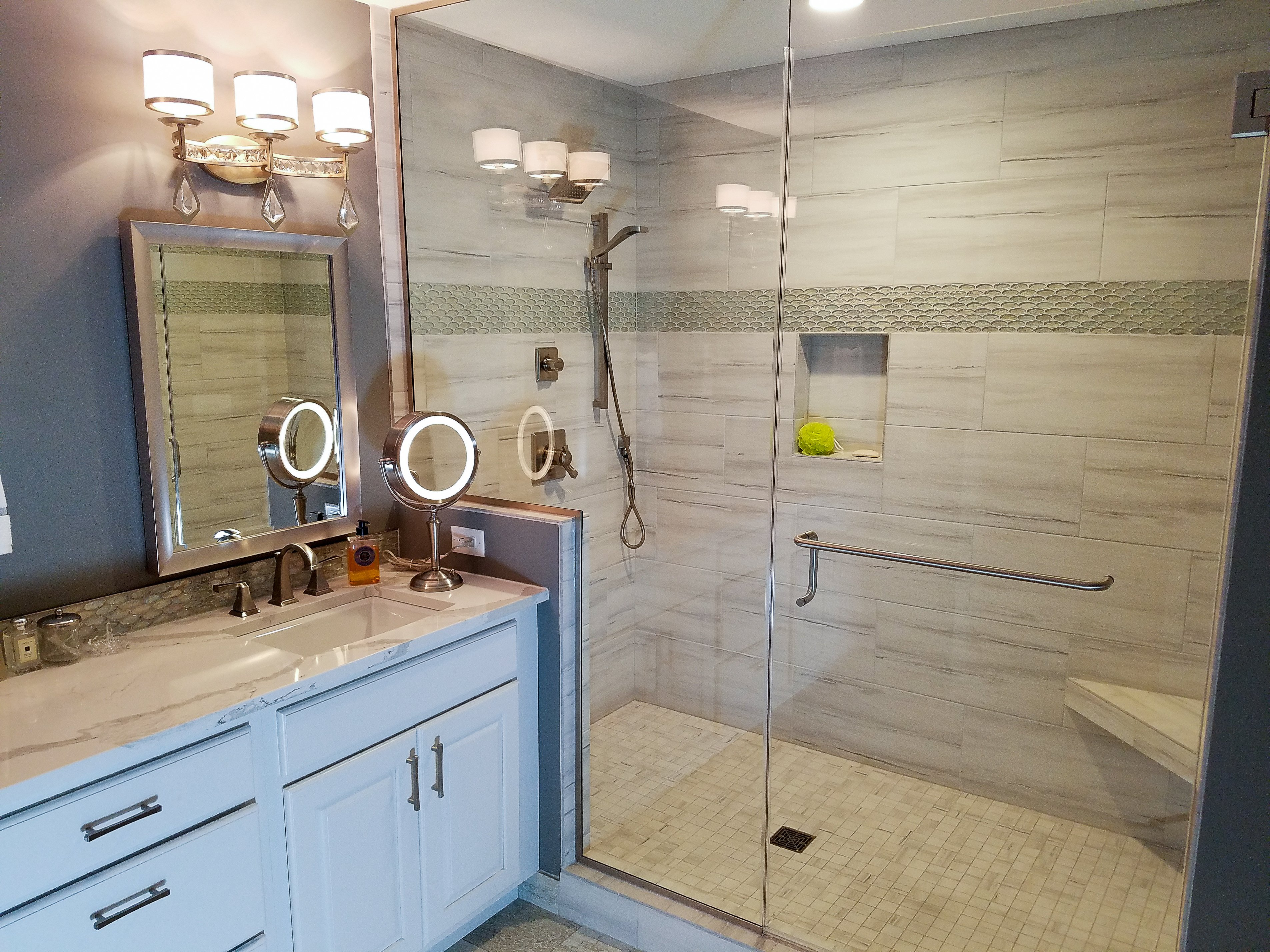 Bathroom Design, large walk-in shower, shower pony wall, shower with a curb, glass shower panel and door,