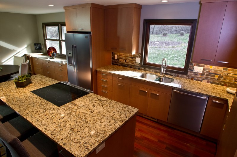 Kitchen Remodeling and Design, kitchen remodel, medium brown kitchen cabinets, square crown molding, square picture window above sink