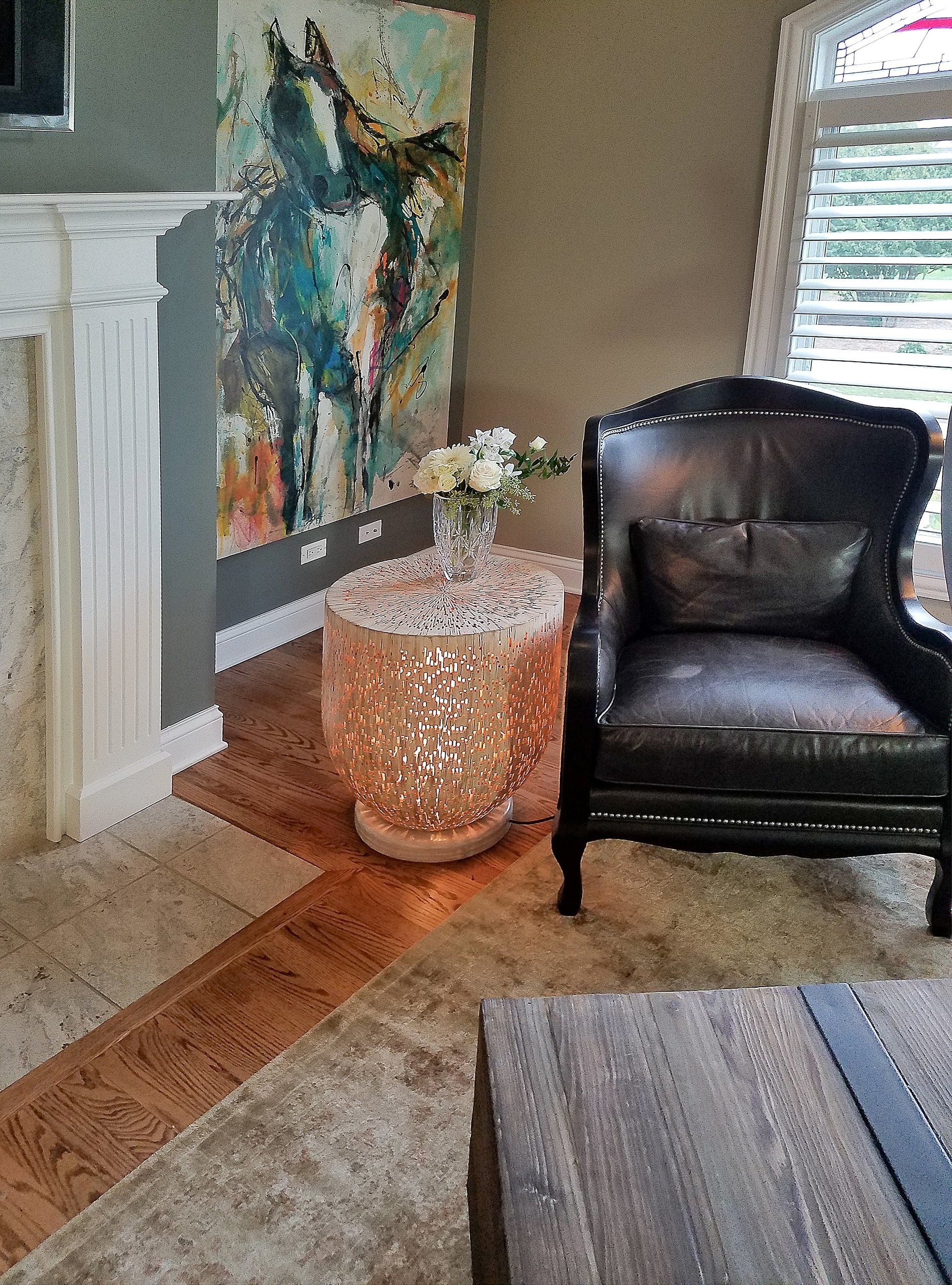 transitional living room decor, abstract horse artwork, small side table