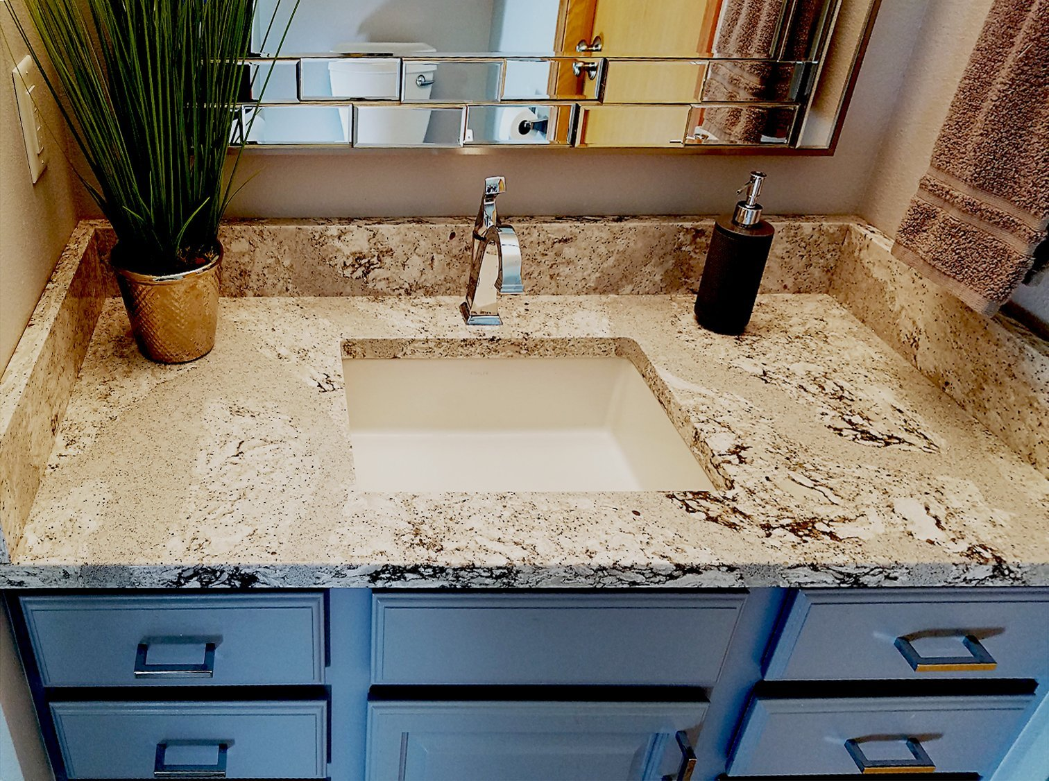 summerhill cambria countertop, square kohler verticyl sink,