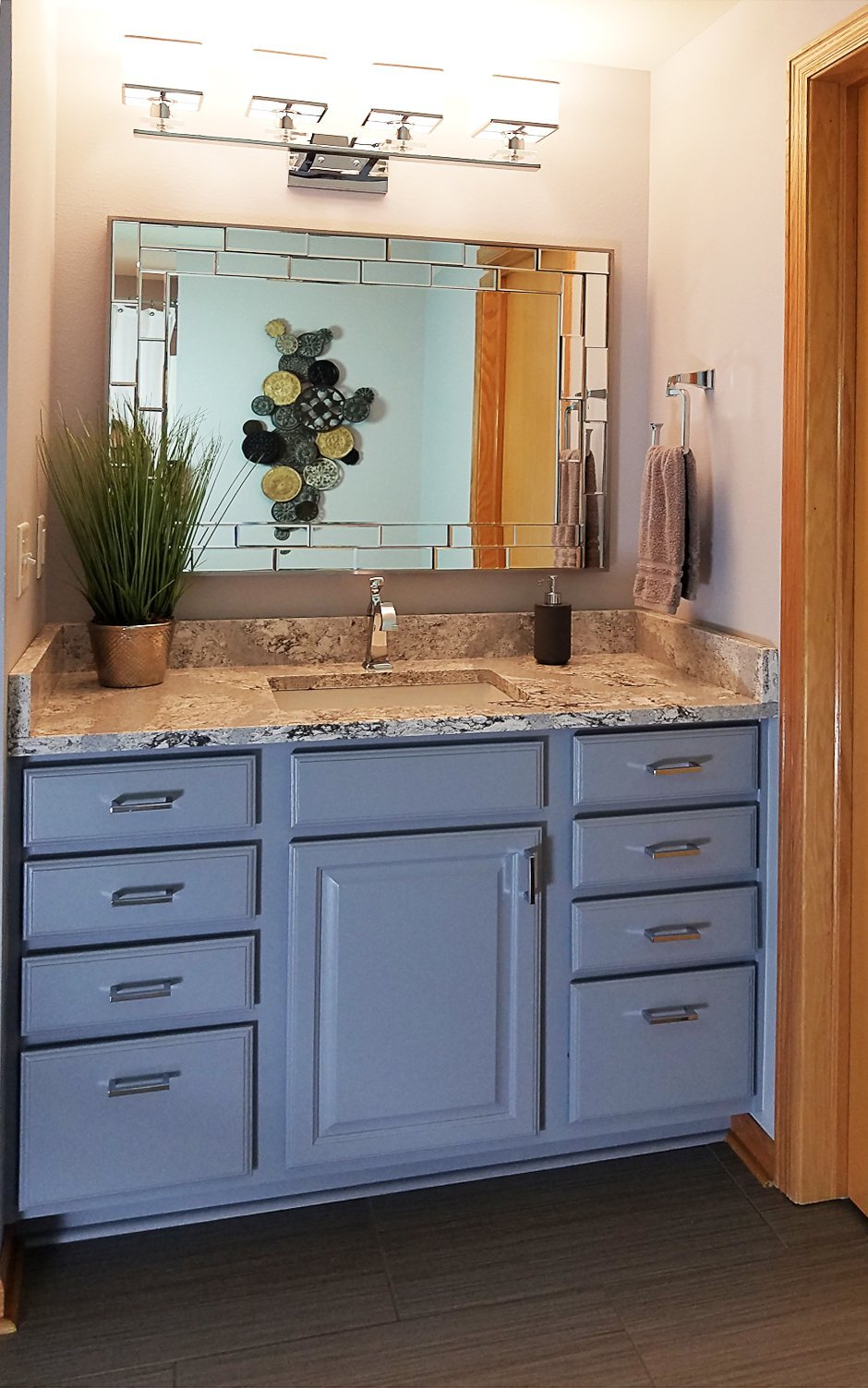 small vanity ideas, bathroom remodel, Madison WI, zgallerie kenzie mirror, summerhill cambria countertop