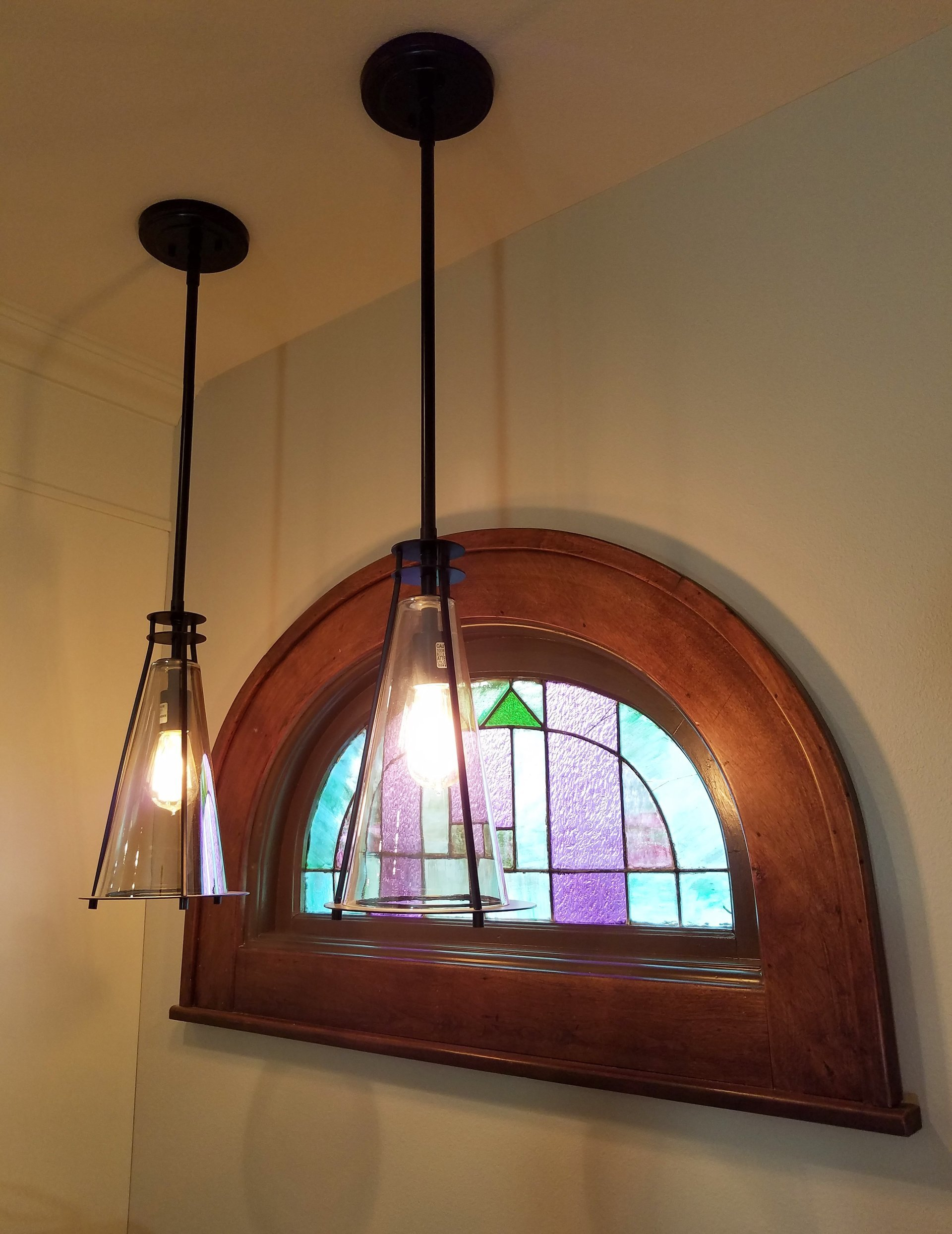 Emerson 1-Light Mini Pendant by Trent Austin Design, half-round stained glass window