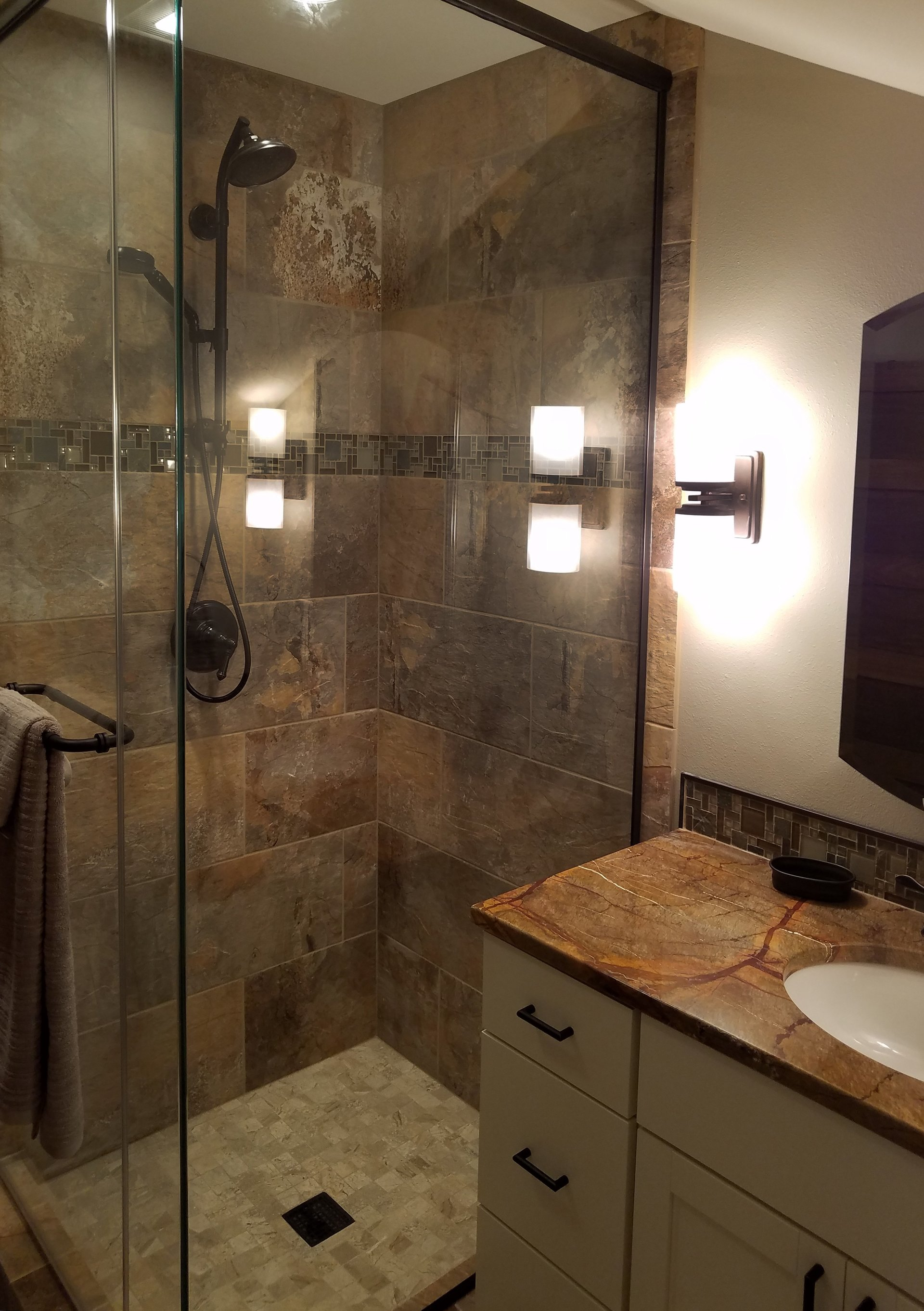 small corner shower, oiled rubbed bronze shower fixtures, glass corner shower surround