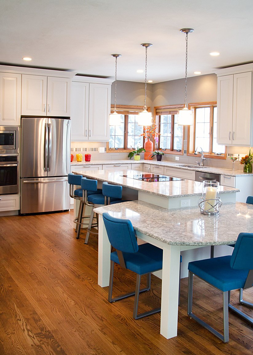 Kitchen Remodeling, island pendants, cambria new quay countertop
