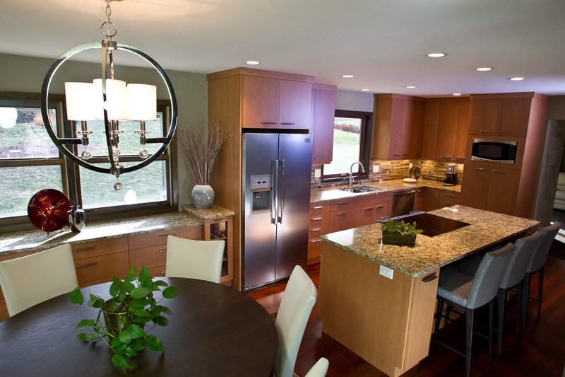 Kitchen Remodeling and Design, eat-in kitchen design, exotic wood flooring, small kitchen island
