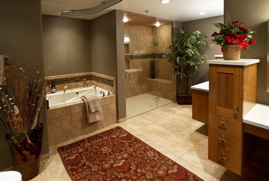 Bathroom Design, ada bathroom design, accessible bathroom design, handicapped bathroom design, soaking tub, curbless shower, beige bathroom floor tile, taupe bathroom walls