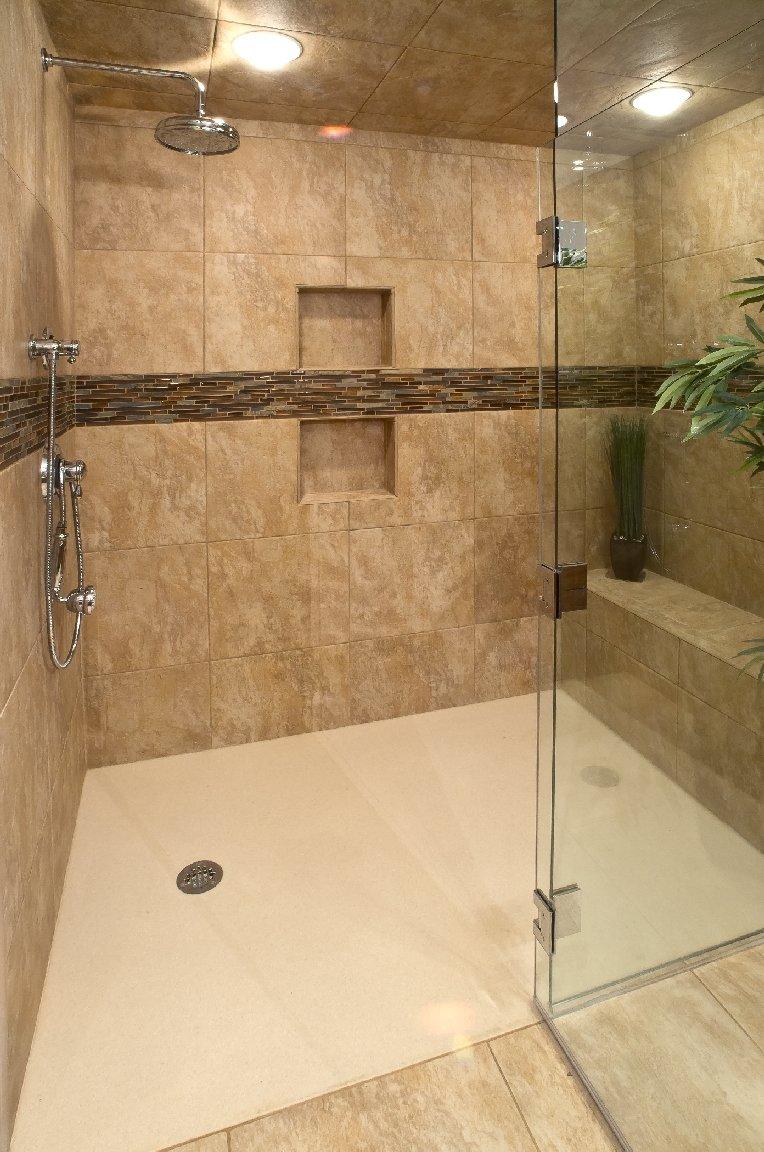 Bathroom Design, curbless shower design, beige shower tile, glass  shower door