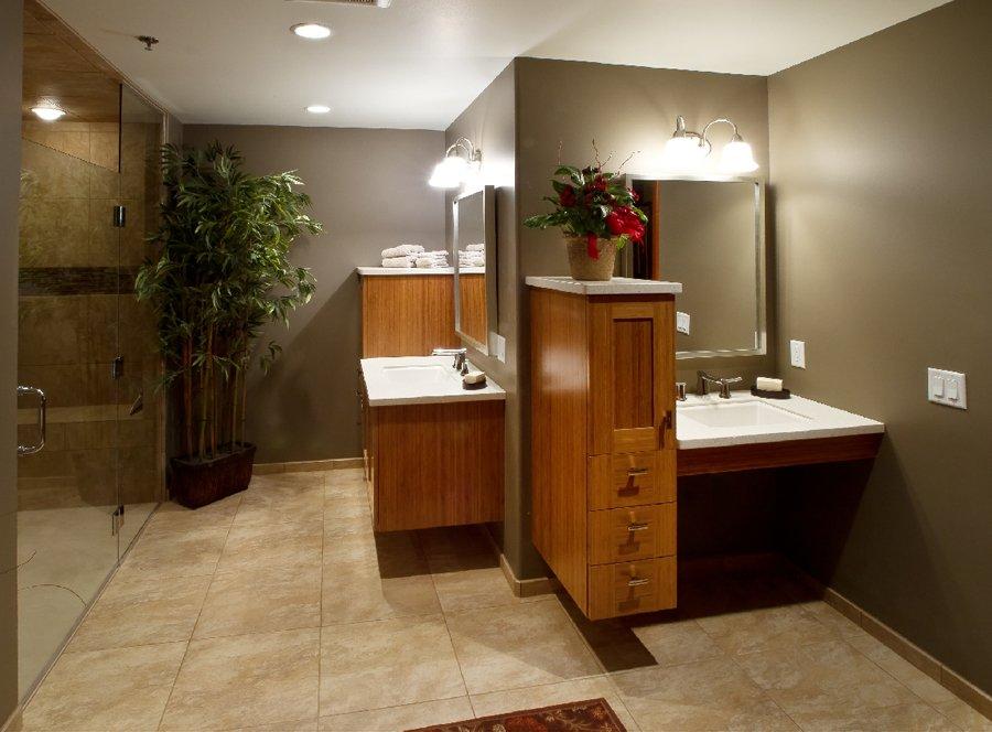 Bathroom Design, ADA accessible vanity design, handicapped vanity cabinet, bamboo vanity cabinet