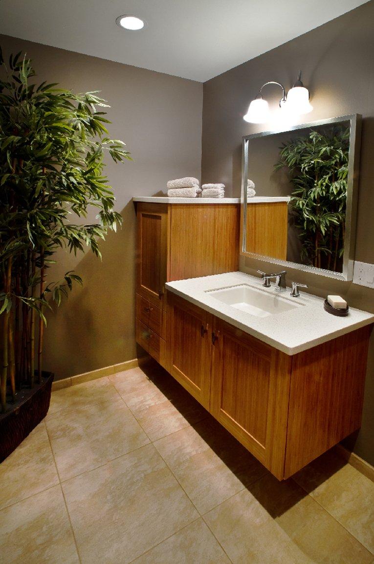 Bathroom Design, bamboo vanity design, floating vanity, shaker vanity cabinets