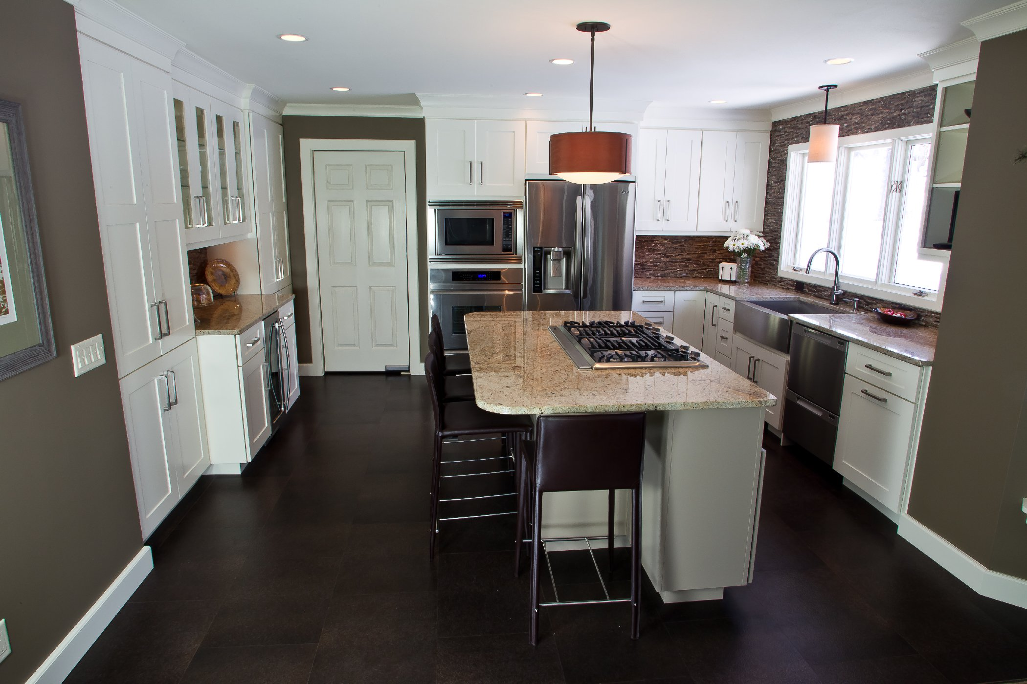 Kitchen Remodeling and Design, kitchen island for 4 people, taupe color island, orange and cream granite,