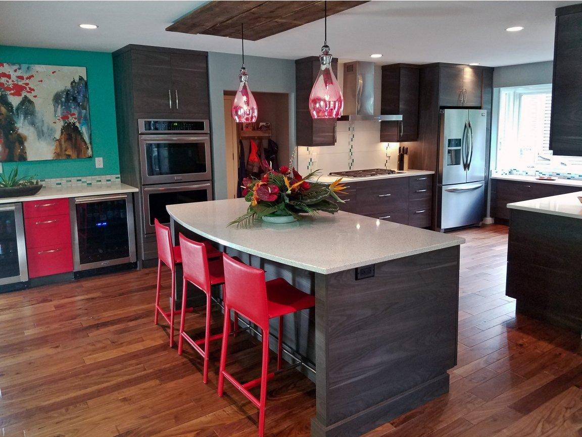 Modern kitchen design, dark grey kitchen cabinets, frameless kitchen cabinets, red kitchen accents