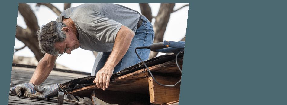 Man installing flat roof