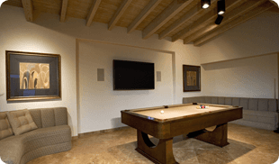 A billiard table in the newly constructed basement