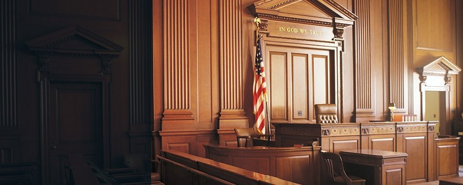 Courtroom with american flag