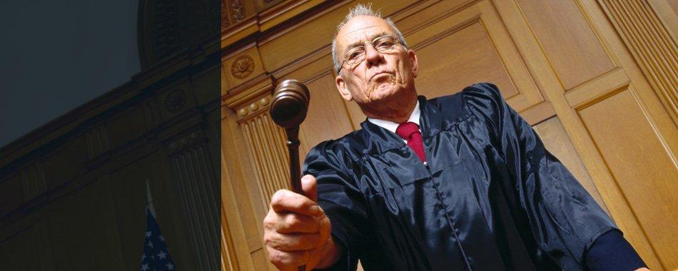 Attorney holding gavel