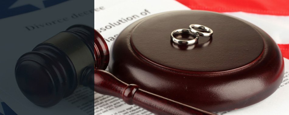 Divorce paper with rings and gavel