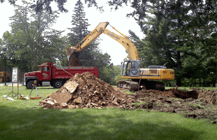 A demolition truck