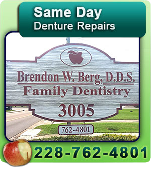 Cosmetic Dentistry - Pascagoula, MS - Brendon W. Berg, DDS - teeth whitening - Same Day Denture Repairs 228-762-4801
