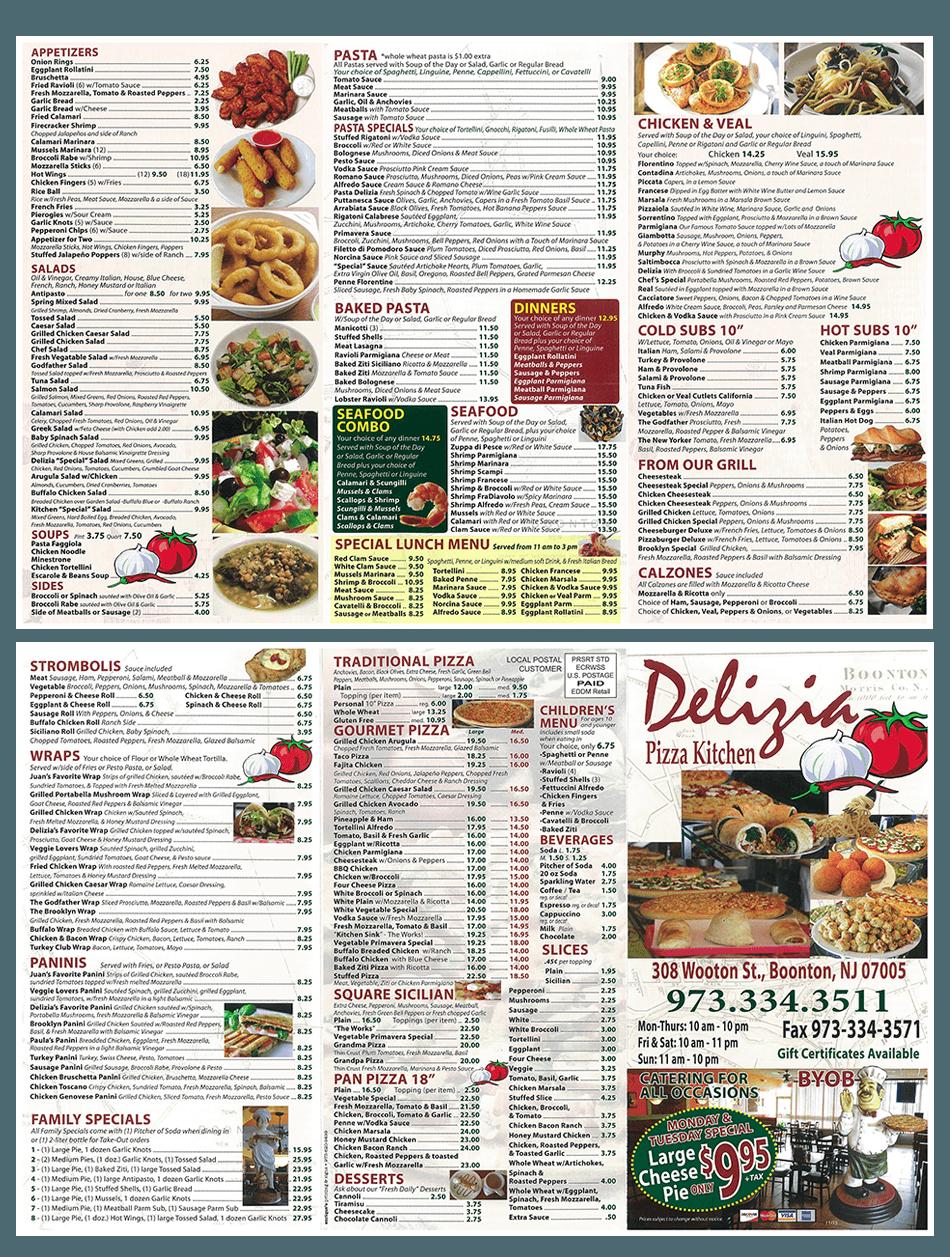 New Menu - Boonton, NJ- Delizia Pizza Kitchen