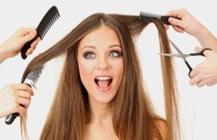Woman on hair service salon