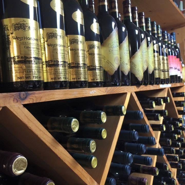 Wine bottles in line
