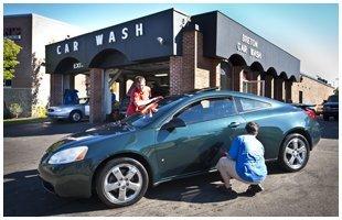 Car wash using sponge