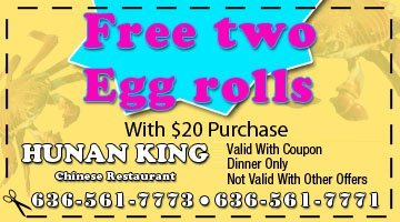 Seafood - O'Fallon, MO - Hunan King - free two egg rolls with $20 purchase