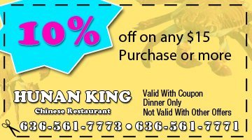 Bar - O'Fallon, MO - Hunan King - 10% off on any $15 purchase or more
