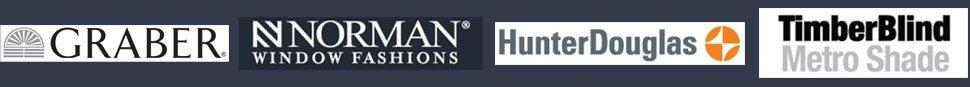 Graber, Norman shutters, Hunter Douglas, Timber blind & shutter logos