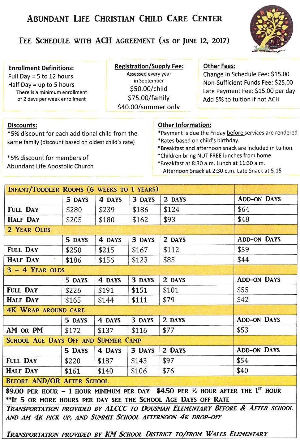 Fee Schedule | Oconomowoc, WI | Abundant Life Christian Child Care | 262-965-2285