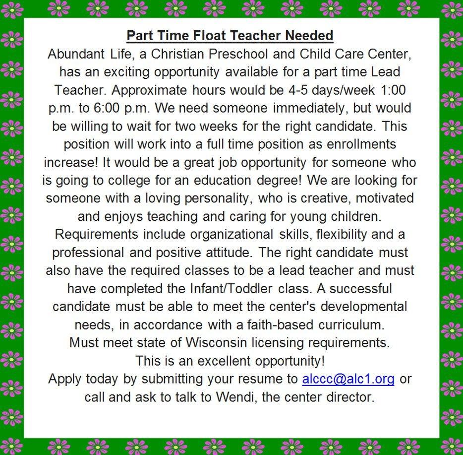 Oconomowoc, WI | Abundant Life Christian Child Care | 262-965-2285