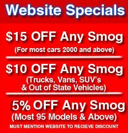 Smog Check Specials and Coupons