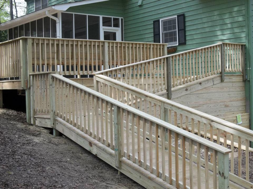 wooden deck with walk-way