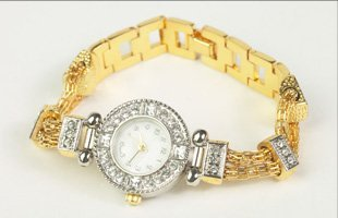 Gold watch with diamonds