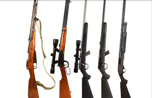 Display of different rifles