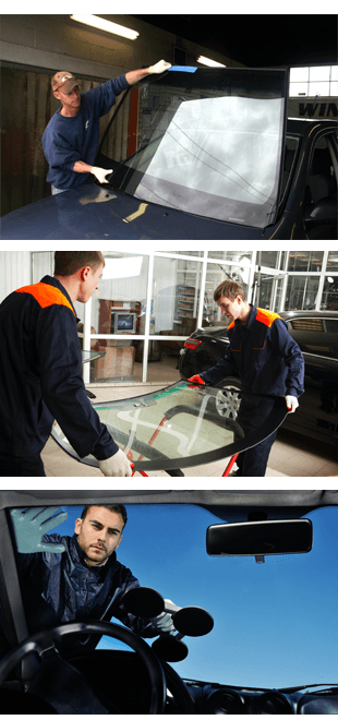 Two men replacing the old windshield with new one,  Repairmen fixing the windscreen