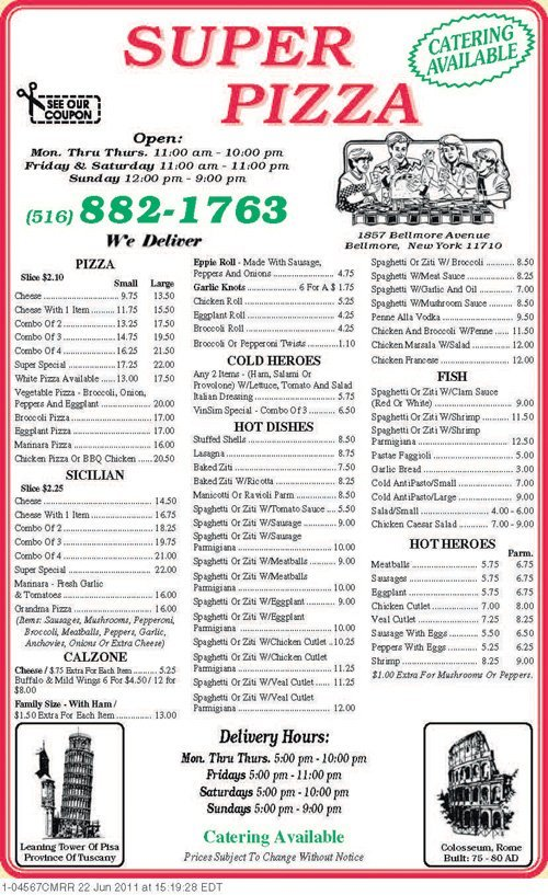 Bellmore, NY Pizza Super Pizzeria's Menu