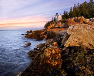 The bass harbor head light in the first light of dawn