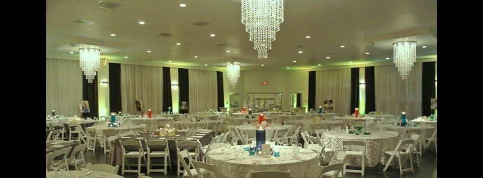 Corporate function area ready for dinner and the party