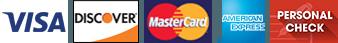 VISA, Discover, Mastercard, American Express, Personal check