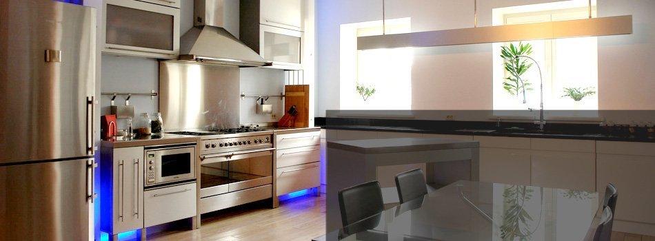 Kitchen appliances inside the house