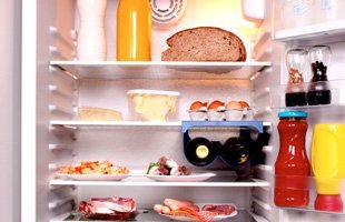 Refrigerator with drinks and food