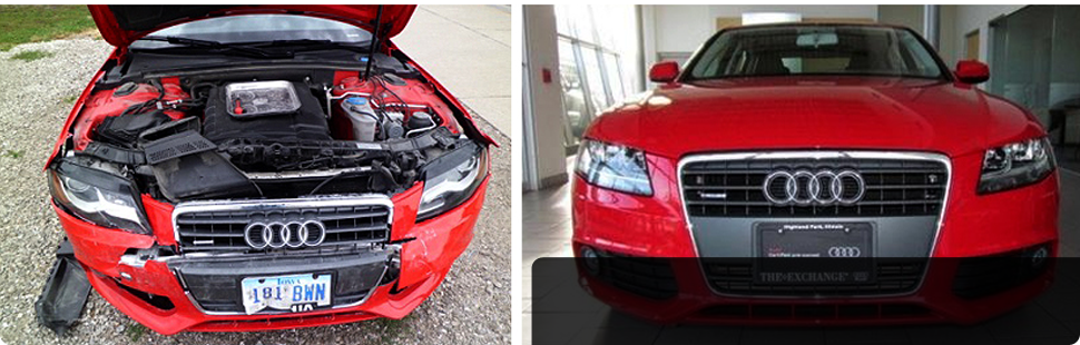 Red audi car before and after | serving Marshall town and Marshall county