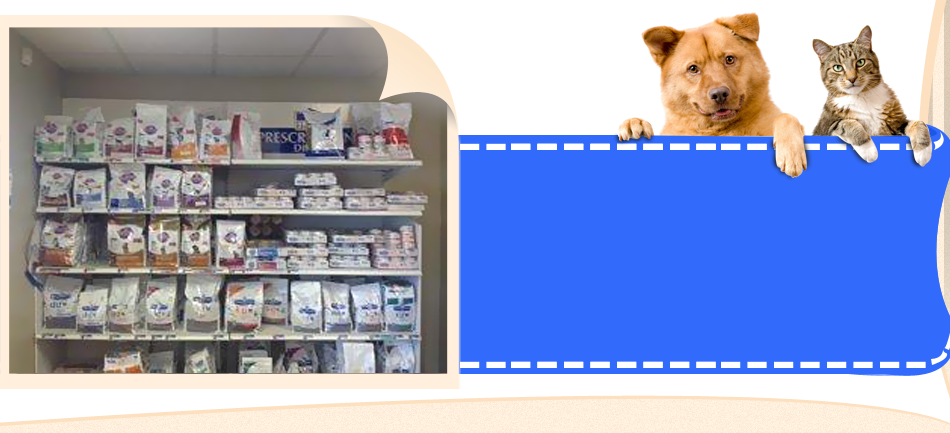 Pet supplies at All-Pets Veterinary Clinic