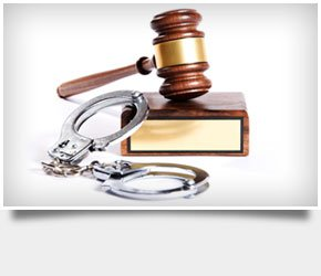 Handcuffs together with a gavel