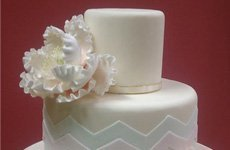 Mint green and pale pink chevron cake