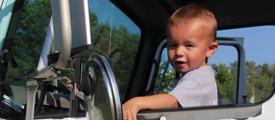 Child on a truck