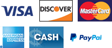 Visa, Discover, MasterCard, American Express, Cash, PayPal