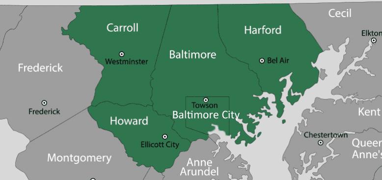 Encor Driving Coach LLC - service area map